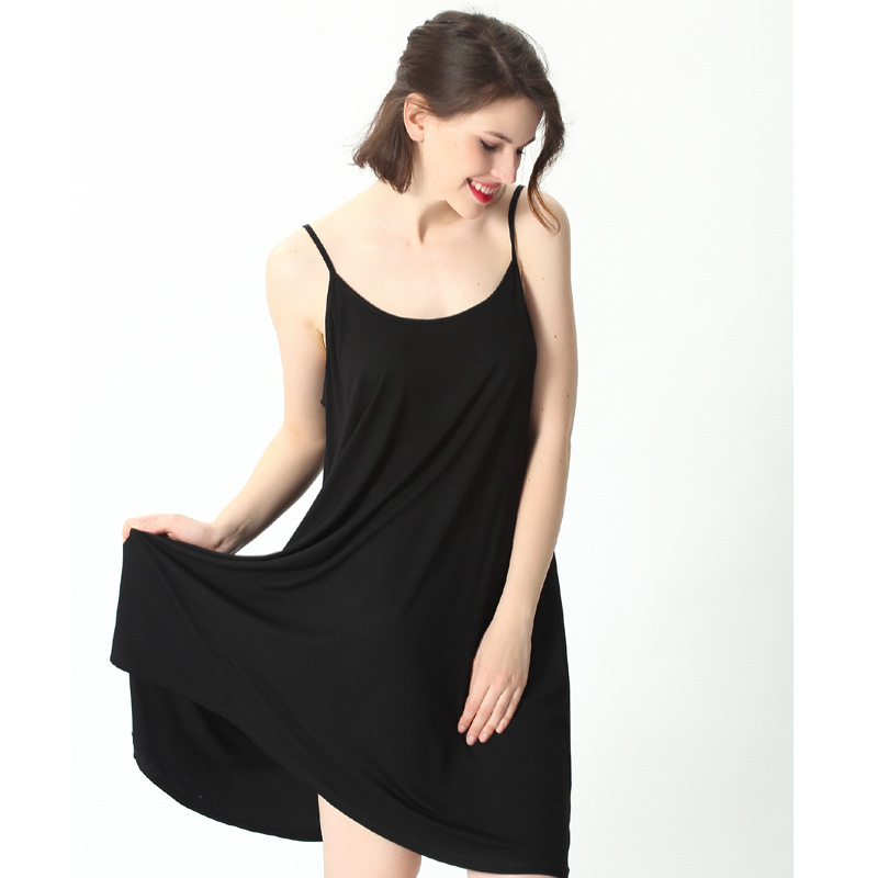 Plus size nightdress female summer XL stretch refreshing breathable comfortable loose suspender skirt black <font><b>camison</b></font> <font><b>sexy</b></font> <font><b>mujer</b></font> image