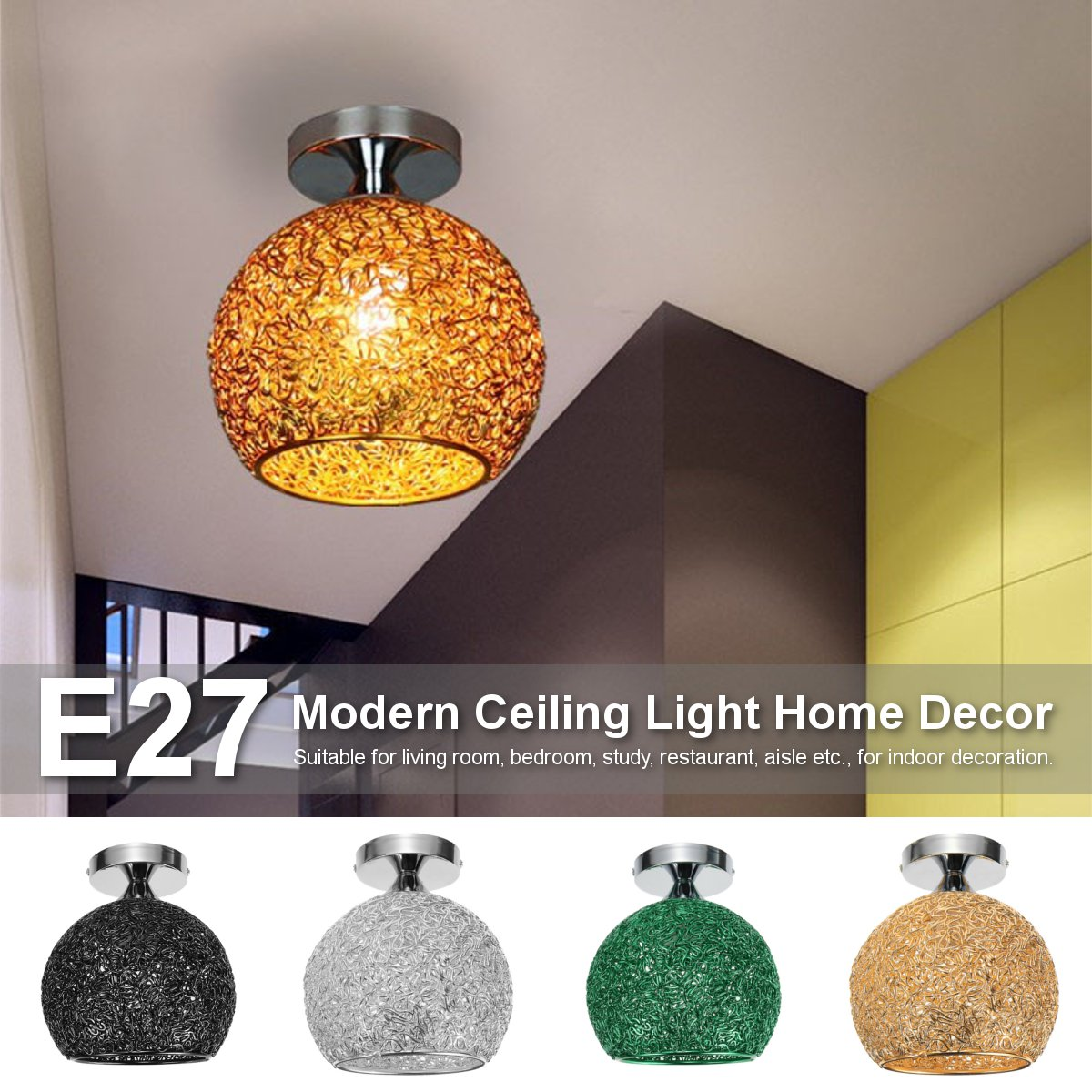 4 Colors E27 Modern Ceiling Light 100-240V Nordic Ceiling Lamp Hallway Bedroom Home Bar Decoration Indoor Lighting Fixture