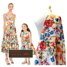 New parent-child fence flower pattern digital printing fashion fabric 145cm wide jacquard for dress