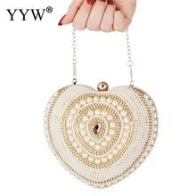 Satin Pearl Heart Evening Party Clutch Bag Luxury Handbags Women Bags Designer Wedding Purse Handbag Totes Rhinestone Sac 2019 недорого