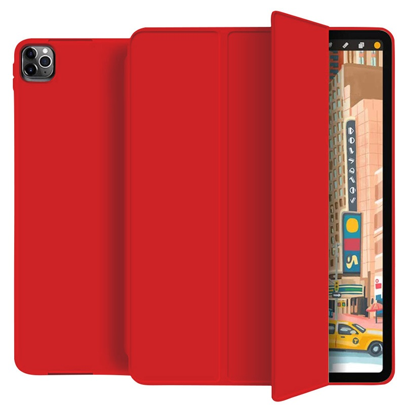 Red Colored Protective Tablet Case For iPad Pro 11 Case 2020 with Pencil Holder Shockproof Stand Back Shell
