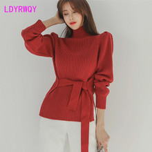 2019 early autumn and winter women's lace-up waist Korean wild turtleneck sweater sweater thickening lace up slit asymmetric sweater