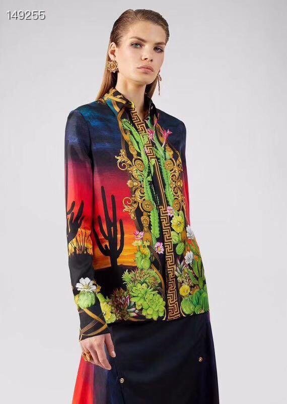 2020 Luxury Women Fashion Runway Blouse Long Sleeve Lapel Neck Cactus Single Breasted And Sunset Print Shirt Office Lady Elegant