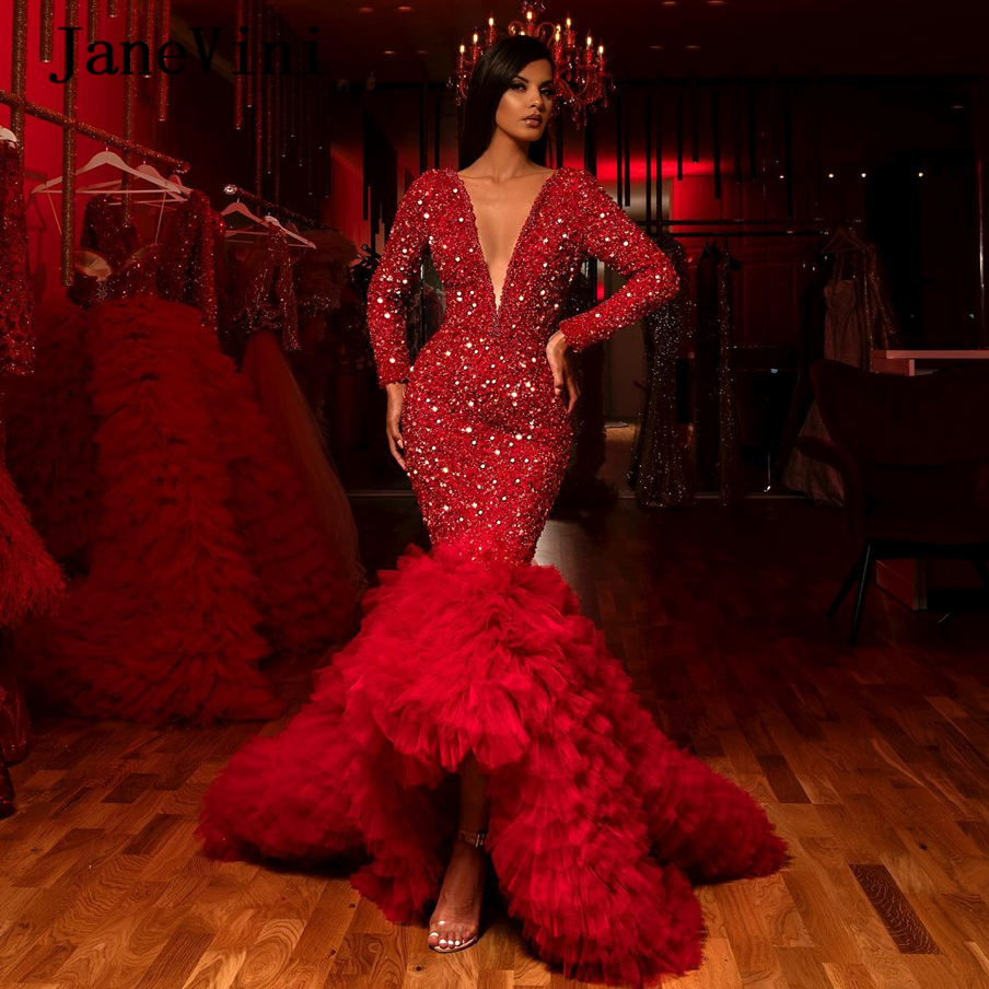 JaneVini 2020 Luxury Red Mermaid Evening Dresses Long Sleeves Sexy Deep V Neck Sparkly Beading Tiered Tulle Formal Dinner Gowns