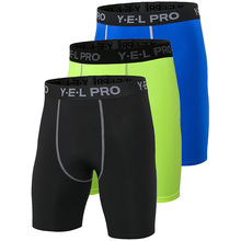 Hot 3 PCS Quick Dry Gym Sports Mens Shorts Crossfit Men Football Trousers Jogging Compression Tight Running