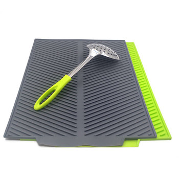 New Drain Mat Kitchen Silicone Dish Drainer Tray Large Sink Drying Worktop Organizer Drying Mats for Dishes Tableware