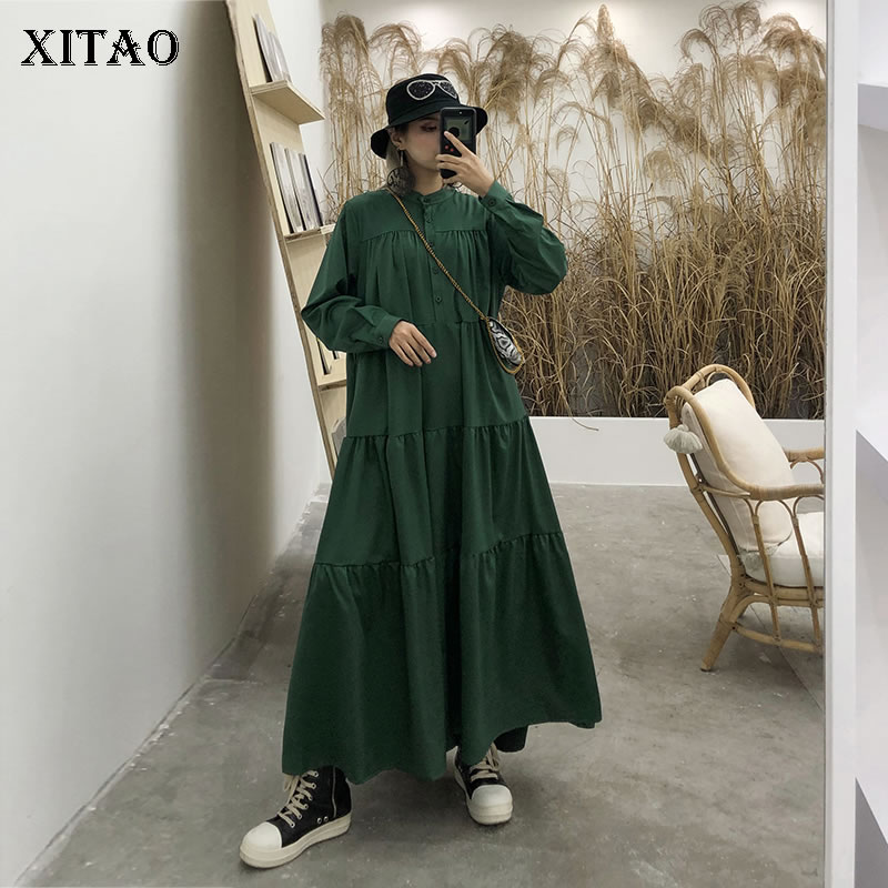 XITAO Pleated Plus Size Dress Women Clothes Stand Collar Elegant Casual Goddess Fan Autumn Loose Casual Style Dress WQR1646