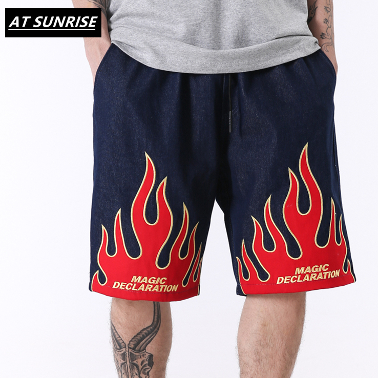 Hip Hop Denim Shorts Embroidery Flame Shorts Cargo Harajuku Summer Streetwear Men Casual Jogger Short Pocket Cotton Sweatpant
