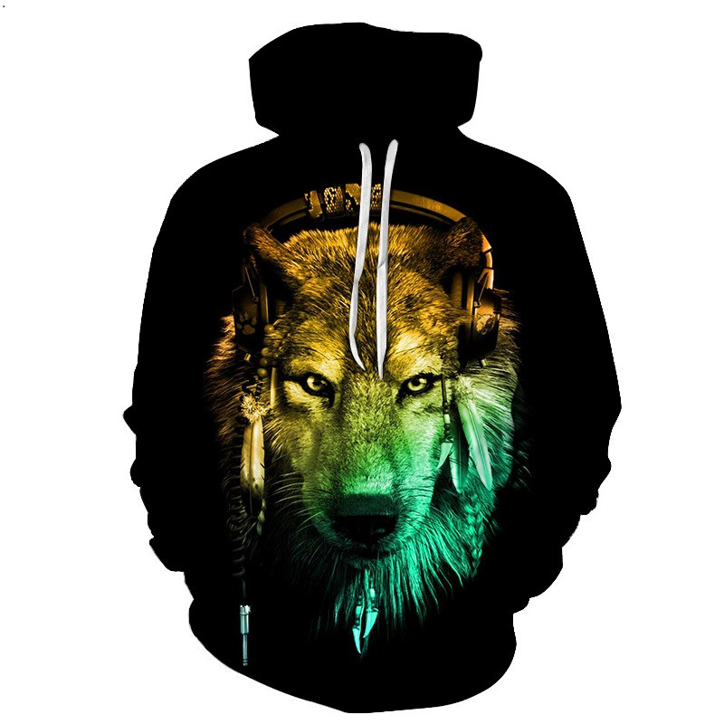 Cloudstyle 2019 Fashion 3D Hoodies Men Hoody Sweatshirt Indian Dj Wolf 3D Print Casual Pullovers Tops Tracksuits Plus Size 7XL