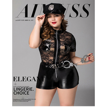 Plus Size PU Leather Women Police Officer Uniform Zipper Dress Cops Costume Cosplay Policewomen Sexy Costumes