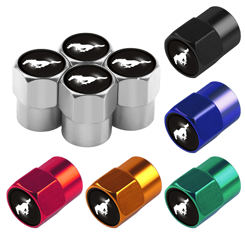 4Pcs Car-Styling Aluminum Alloy Wheel Tire Valve Caps Stem Cover Badge Decoration For Ford Mustang Shelby GT Car accessories
