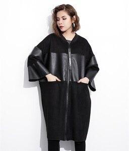 Image 4 - EAM veste grande taille épissée, nouveau col montant à manches longues, manteau femme, mode automne cuir synthétique polyuréthane noir, JC2530