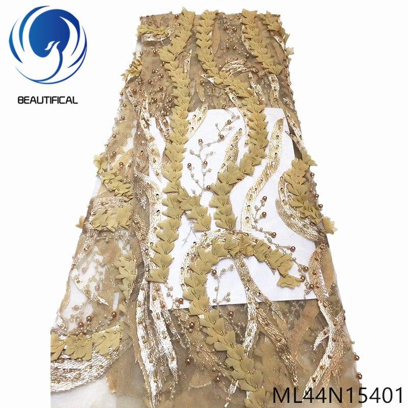 Beautifical 3d tecido de renda francesa strass e contas tule tecido renda para vestido alta qualidade tecido renda nigeriana ml44n154