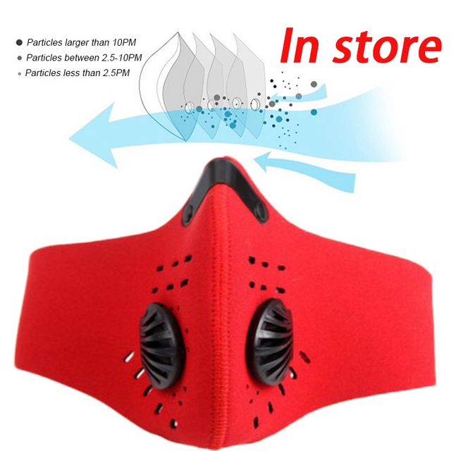 1pcs Personal Motorcycle Face Mask for Mouth Black Reusable Face Mask washable Activated Carbon Filter Respirator Cycling Masker
