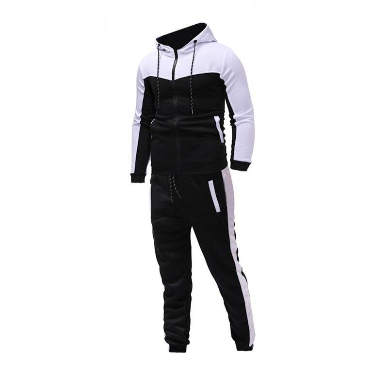 JODIMITTY 2020 Men Long Sleeve Hoodies+Pants Sets Male Tracksuit Patchwork Sport Suit Men's Gyms Set Casual Sportswear Suit Fit
