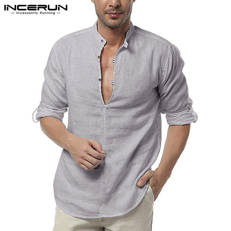 INCERUN Fashion Shirt Men Long Sleeve 2020 Sexy V Neck Brand Blouse Solid Color Camisa Streetwear Cotton Casual Men Shirts S-3XL