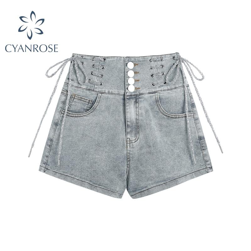 Женские джинсовые шорты с завышенной талией, однотонные облегающие шорты на пуговицах, лето 2021