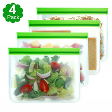 Reusable PEVA Plastic  Food Freezer Storage Bag Kitchen Containers Refrigerator for Fruits Vegetables Meat Soup
