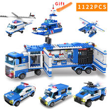 1122 pcs City Police Series Motorbike Car Helicopter Building Blocks legoingly City Police Station(China)