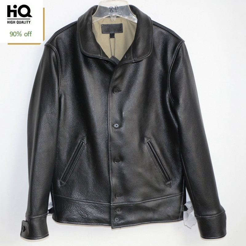 High Quality Cow Leather Jackets Men Vintage Real Cowhide Genuine Leather Coats Long Sleeve Single Breasted Overcoats Fashion