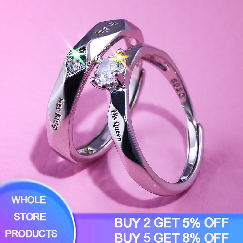 2pcs/set New Trendy Zircon Crystal Engagemen Rings Women Solid 925 Silver Wedding Ring Set Lover Wedding Jewelry Party Gift 2020