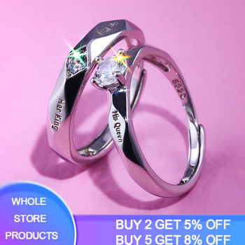 2pcs/set New Trendy Zircon Crystal Engagemen Rings Women Solid 925 Silver Wedding Ring Set Lover Jewelry Party Gift 2020