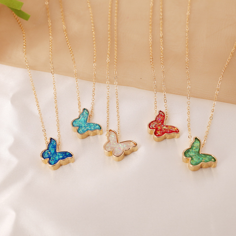 Colorful Butterfly Pendant Necklaces for Women Gold Color Simple Style 2020 Fashion Jewelry Clavicle Chain Female New Arrival