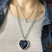 Anslow, venta al por mayor, dulce amor, Pareja, Corazón de océano, suéter de cristal, cadena, collar para mujer, regalo de compromiso de boda LOW0027AN
