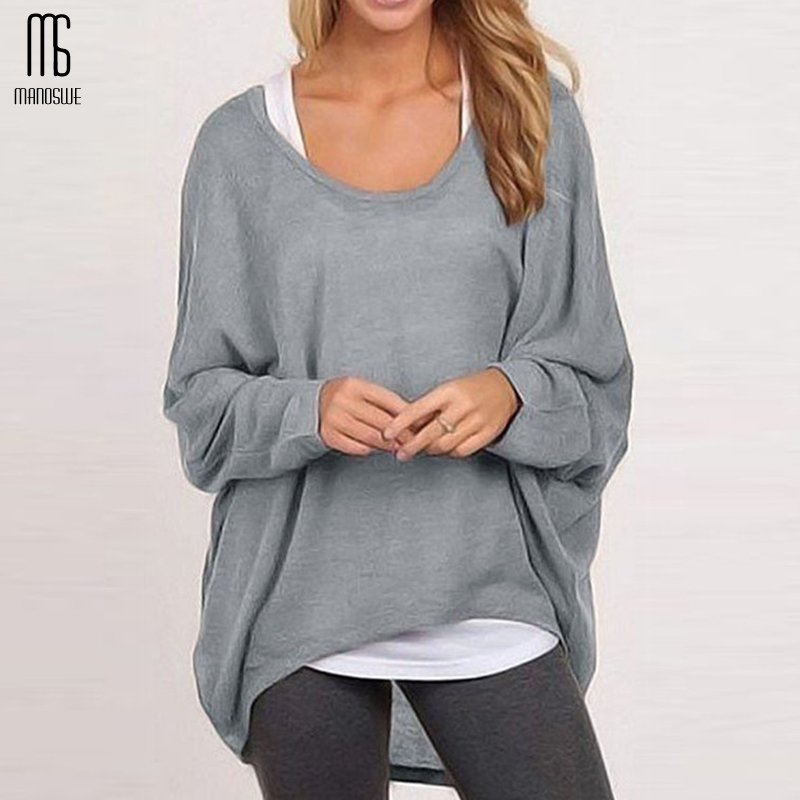 Manoswe Women's Solid Long-sleeved Knitted Pullover Sweater Jumper Spring And Autumn Loose Casual Style Tops Oversize XXL