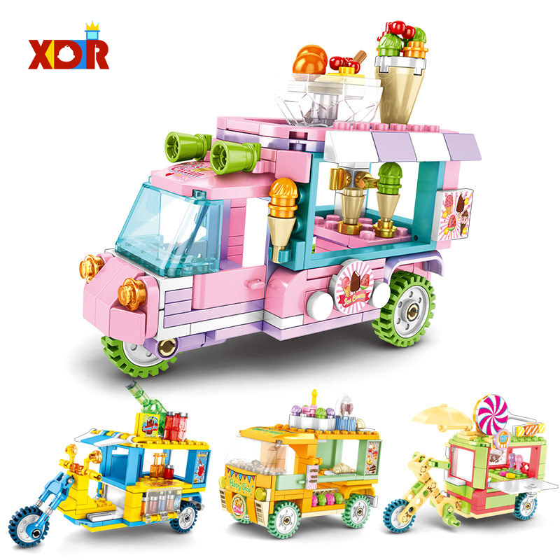 Mini City Street Toys Shop Building Block Ice Cream Burger Car DIY Bricks Children Educational Toys For Children Kids Gift