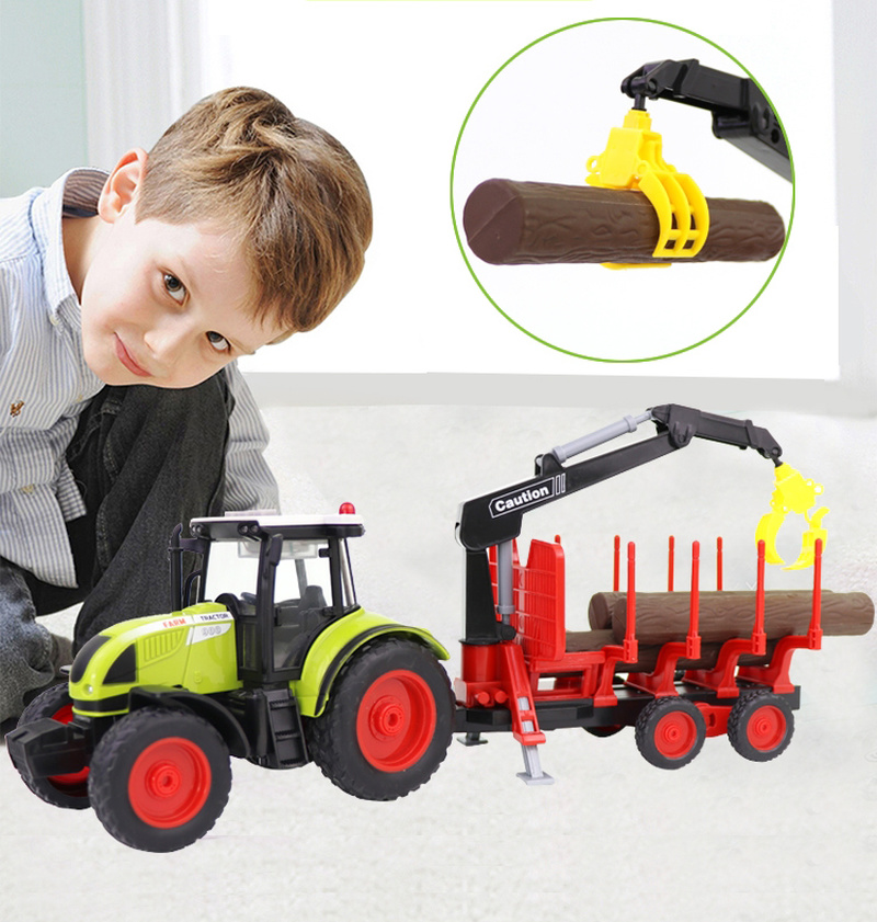 Children's Tractor Toys Large-scale Simulation Farmer's Vehicle Model Farm Transport Trailer Gifts For Children