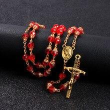 Komi religioso católico rosário vermelho frisado cruz pingentes colares correntes colar cristo jesus orando jóias collana R-386