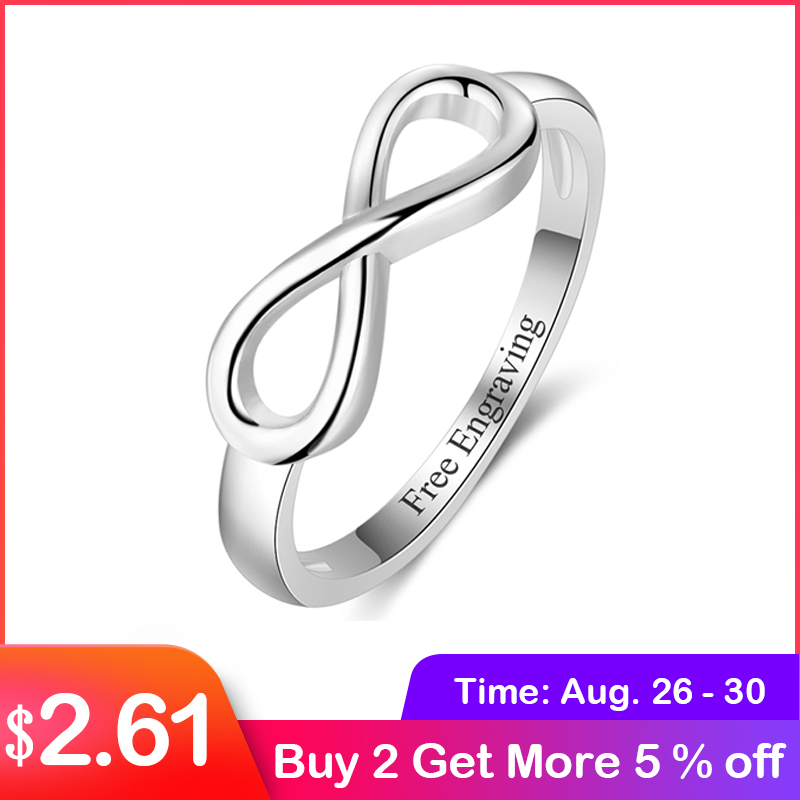 Personalized-Ring Wedding-Jewelry Forever-Ring Infinity 925-Sterling-Silver Woman Gift