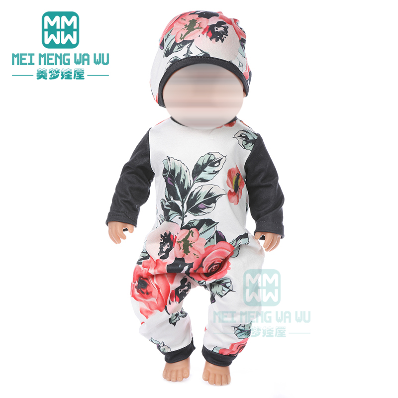 Doll Clothes Printed Jumpsuit, Home Service For 43 Cm Toy New Born Doll Baby 18 Inch American Doll Our Generation