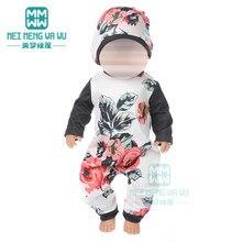 Oyuncak bebek giysileri baskılı tulum, ev hizmeti 43 cm oyuncak yeni doğan bebek bebek 18 inç amerikan oyuncak bebek bizim nesil