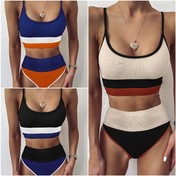 цена на 2020 sexy Patchwork Bikini Swimwear Women Swimsuit High Waist Bikini Set Bathing Suit Push Up Maillot De Bain Femme Beachwear