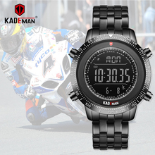 Kademan relógio masculino do esporte dos homens led relógios digitais 3tam aço completo moda relógios de pulso de aço completo marca superior relogio masculino 849