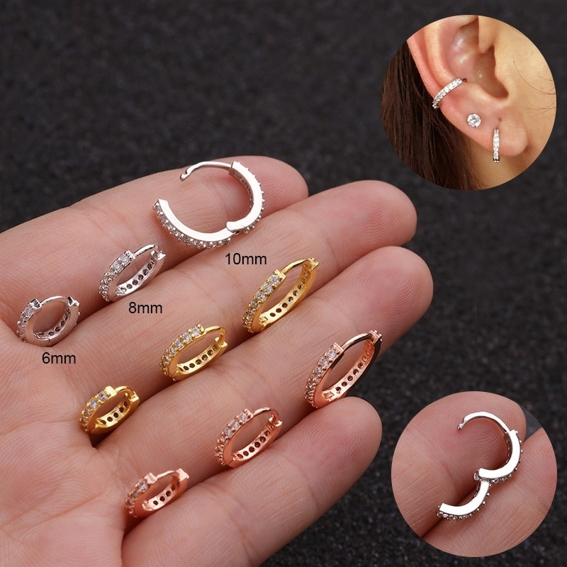 1Pc Bohemian Rhinestone Stud Earrings For Women Gilrs Stainless Steel Crystal Fake Spring Clip For Ear Nose Accessories