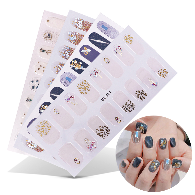 16 Posts/1 Sheet Nail Art Stickers UV Gel Polish Nail Wraps Strips Full Cover Colorful Nail Polish Stickers Decals Manicure Tool