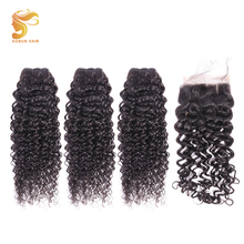 AOSUN HAIR Peruvian Hair Weave Bundles Italian Curly With Closure 4PCS/Lot Lace Remy Human Extensions
