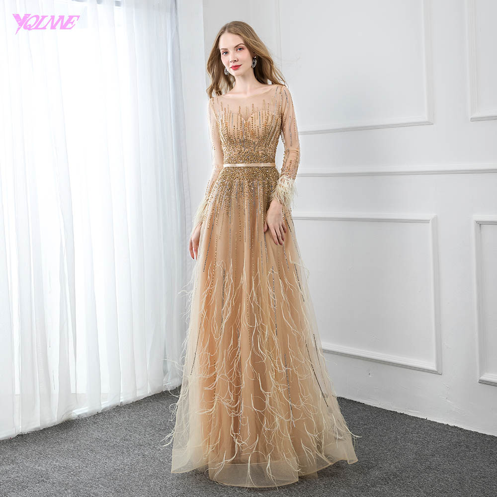YQLNNE Elegant Gold Feathers Full Sleeve   Evening     Dress   Long Crystals Beaded Formal   Evening   Gown Women   Dresses