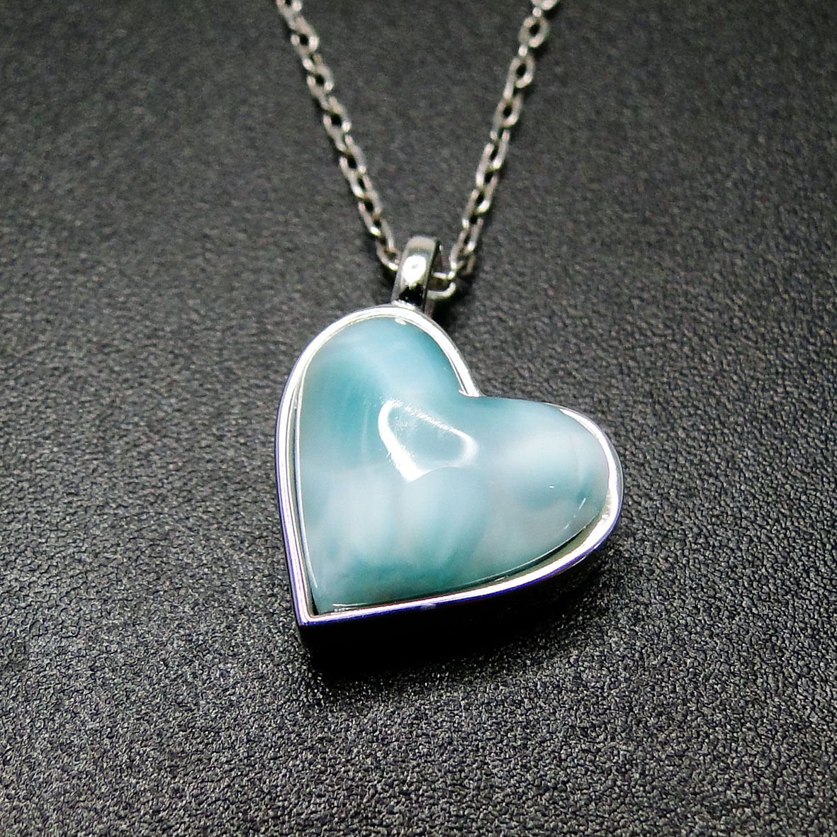 Larimar Heart necklace sterling filled chain