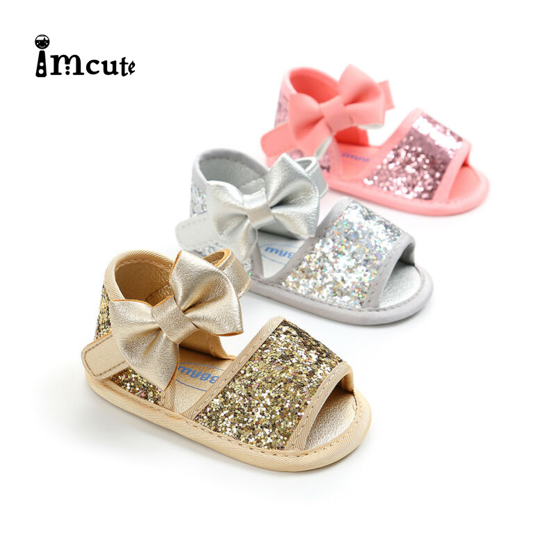 2019 Summer Baby Girls Sequins Sandals Anti Slip Crib Shoes Soft Sole Prewalkers