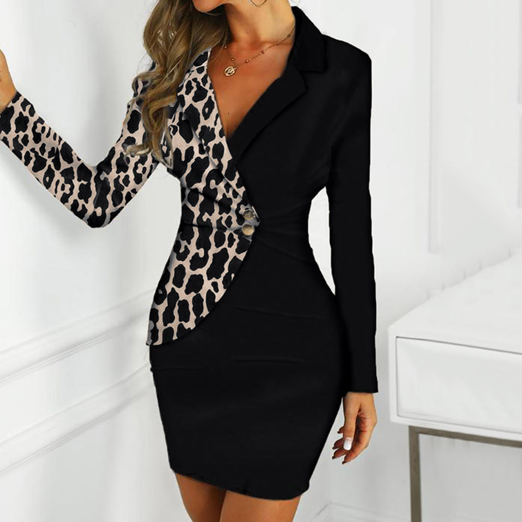 Fashion Suit Women Blazer Dress Office Ladies Long Sleeve Leopard Buttons Patchwork Casual Work Dress Wholesale Free Ship Z4