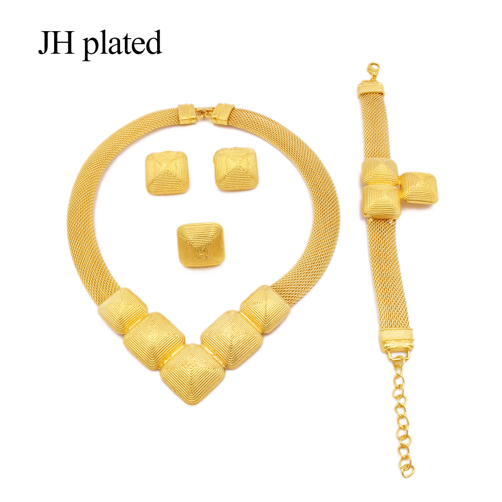 Jewelry sets African 24k gold for women Dubai wedding gifts bridal party Necklace Bracelet earrings ring set collares jewellery
