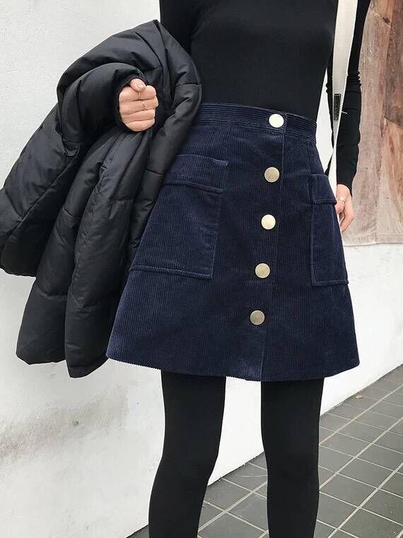 Retro Corduroy A- Line Skirt Women's High-waisted 2019 Spring And Autumn New Style Korean-style Slimming Skirt Short Skirt