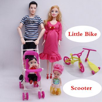Real Pregnant Figure 5-Person Family Couple Combination Baby Doll Stroller For Dolls Scooter For Barbie Kids' Christmas Gift 1