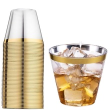 100 шт Золотые пластиковые одноразовые стаканчики набор розово-золотые ободковые бронзовые стаканчики серебряные стаканчики для свадебной вечеринки прозрачные стаканы желе чашки 9 унций