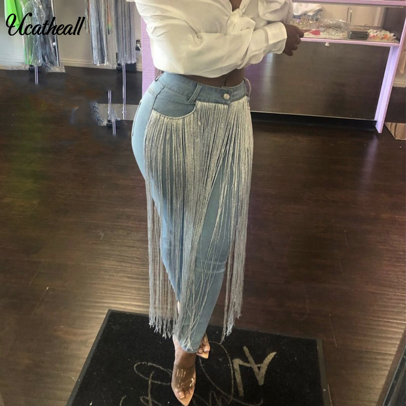 Tassel Spliced Denim Pants Women Casual Finage  Sexy  Long Women Jean Elegant Outwear Streetwear SilverTassel Jeans  Women Pants