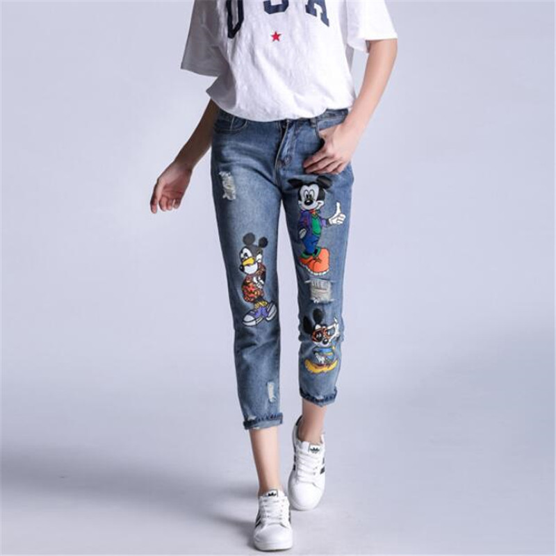 Plus Size Mickey Women Jeans Holes Patches Skinny Denim Pants Female Casual Jeans Women Denim Trousers Women Jeans
